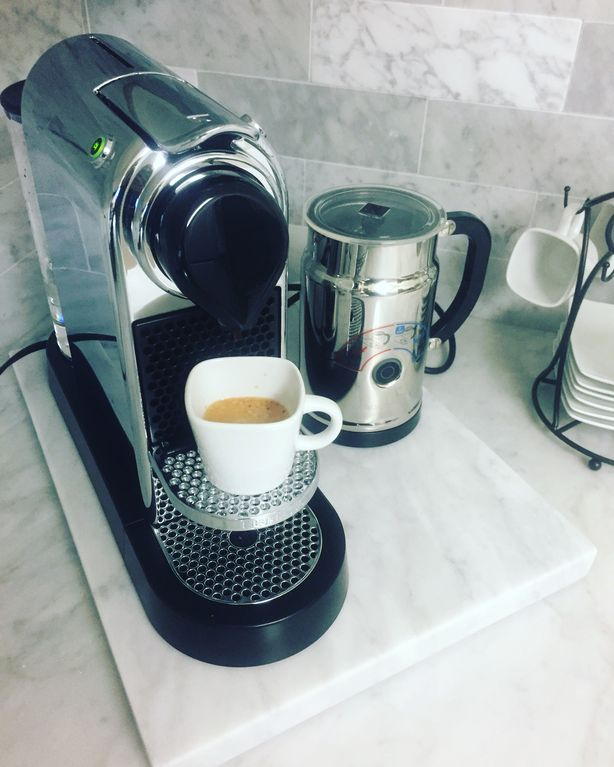 Nespresso machine, milk frother, starbucks drip coffee
